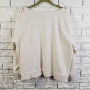 GAP Tops - Gap Lace Up Sleeve Slouchy Sweatshirt XL White